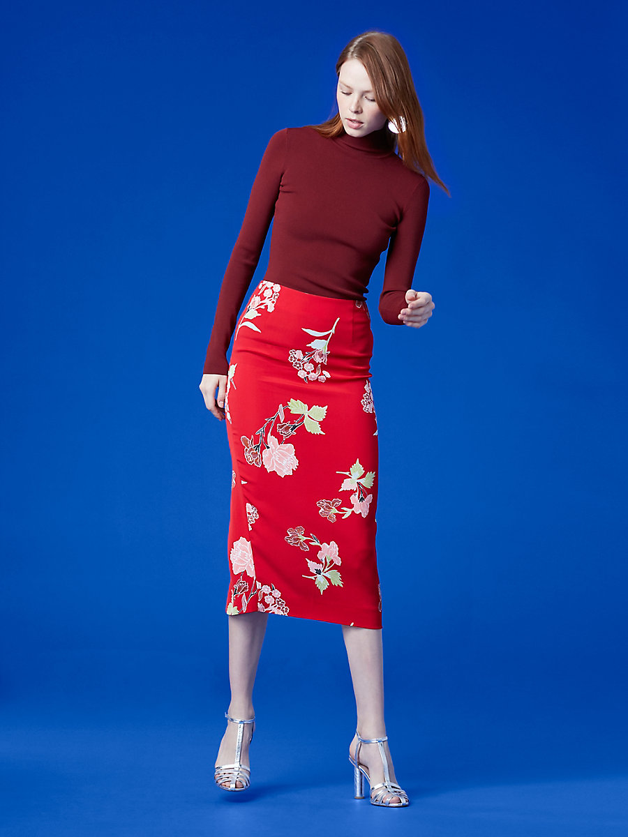 Tailored Midi Pencil Skirt in Everton Lipstick by DVF
