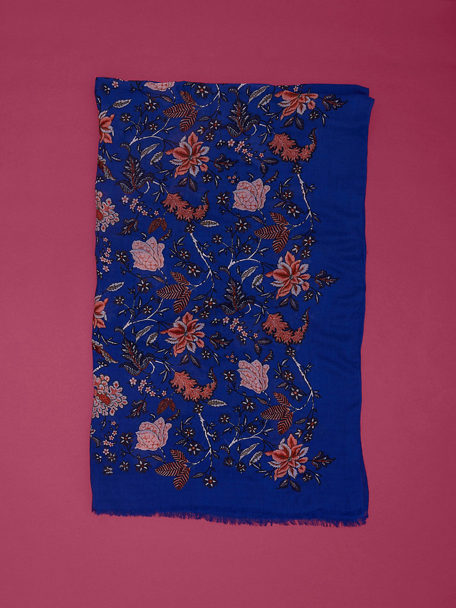 Canton Cashmere Scarf in Canton Electric Blue by DVF