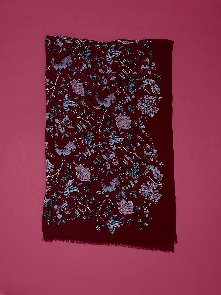 Canton Cashmere Scarf in Canton Bordeaux by DVF