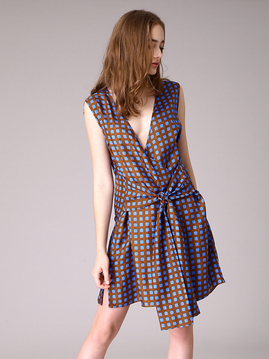 Cross Over Tie Front Dress in Mura Kola by DVF