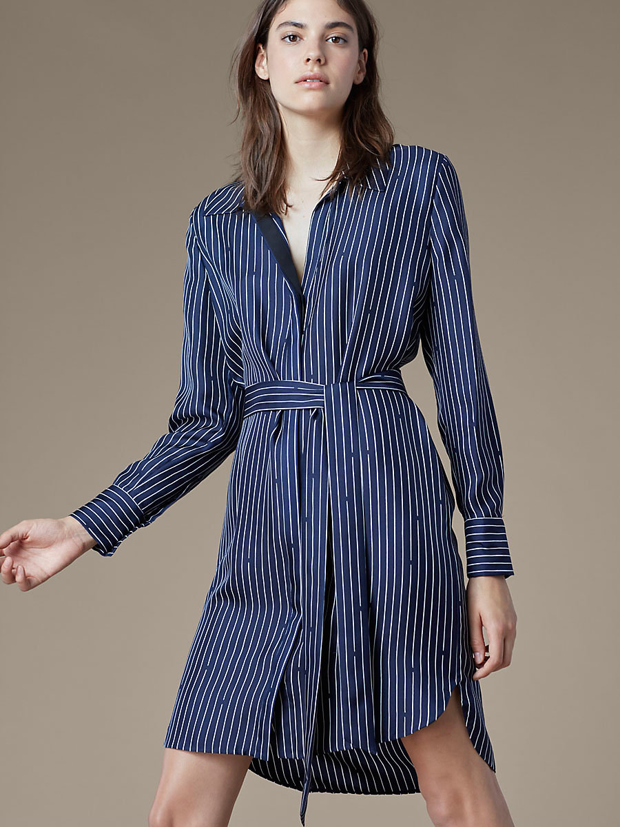 Long Sleeve Collared Shirt Dress in Larson Midnight/black by DVF