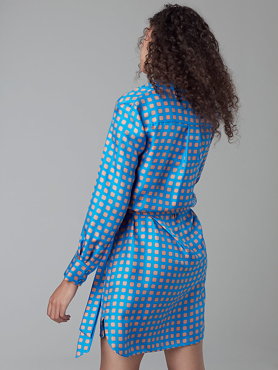 Long Sleeve Collared Shirt Dress in Mura Tile Blue/tile Blue by DVF