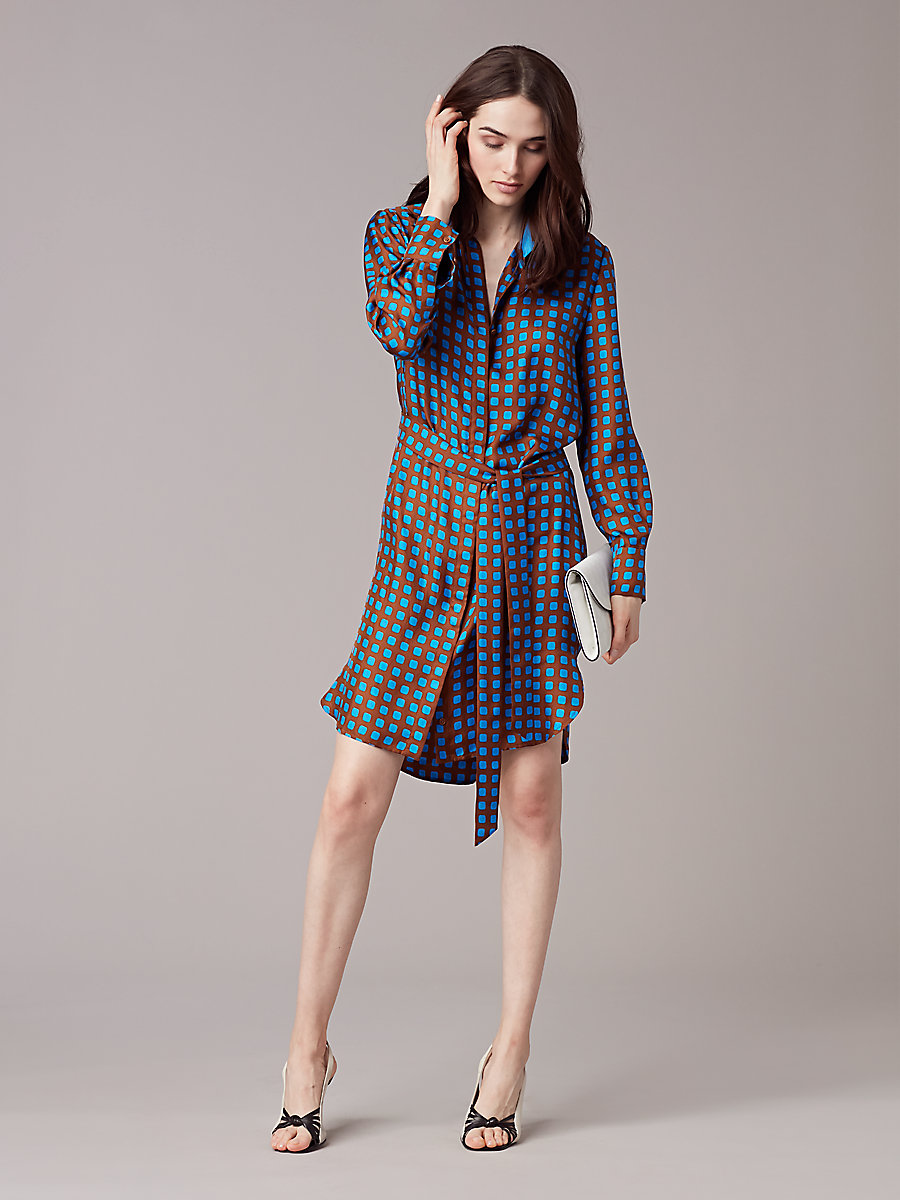 Long Sleeve Collared Shirtdress in Mura Kola/tile Blue by DVF