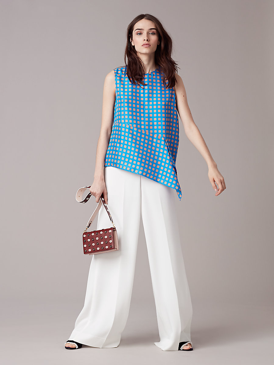 Sleeveless Ruffle Front Blouse in Mura Tile Blue by DVF