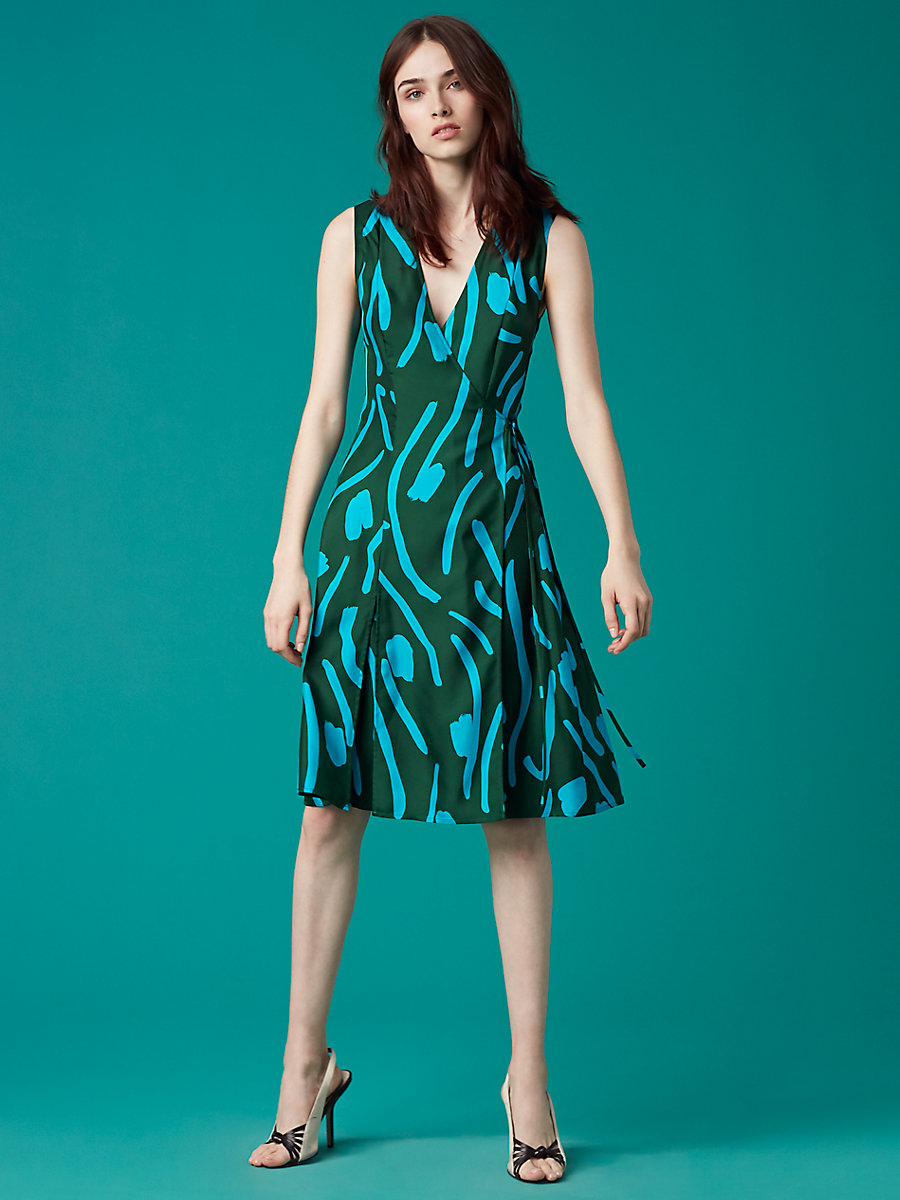 Sleeveless Side Tie Flared Dress in Chatham Large Bottle Green by DVF