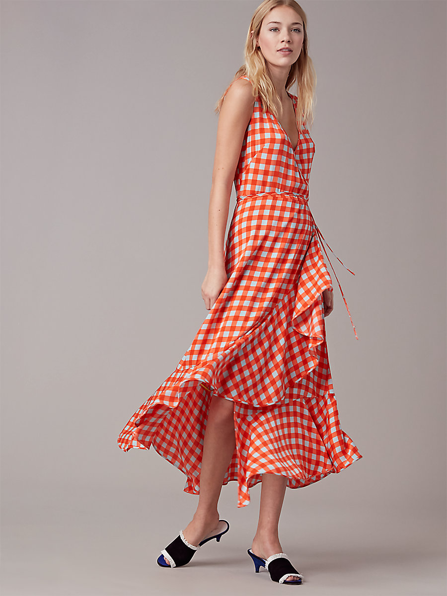 Sleeveless Asymmetric Ruffle Wrap Dress in Cossier Large Bold Red by DVF