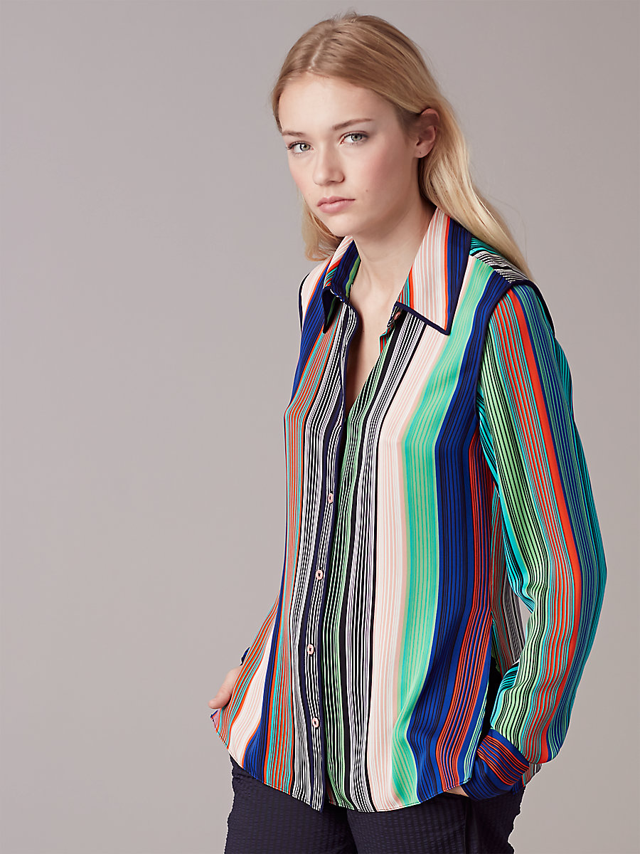 Long-Sleeve Collared Shirt in Burman Stripe Multi by DVF