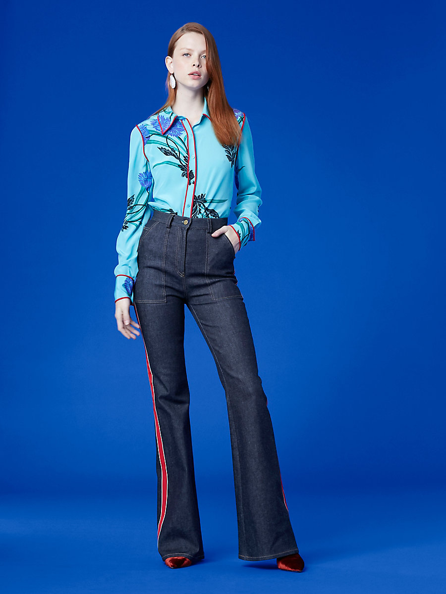 Long-Sleeve Collared Shirt in Farren Marine/ Lipstick by DVF