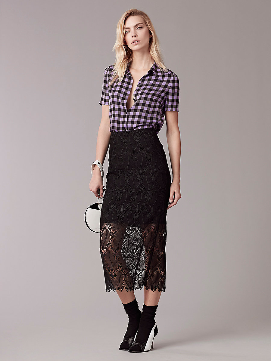Short-Sleeve Collared Shirt in Cossier Large Violet by DVF