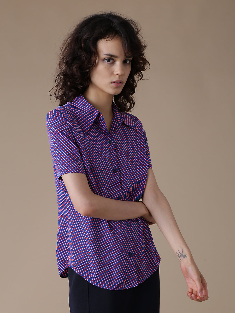 Short-Sleeve Collared Shirt in Elba Royal by DVF