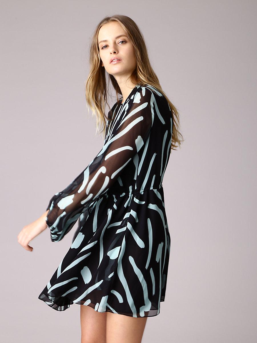 Cinch Waist Mini Dress in Chatham Large Black by DVF