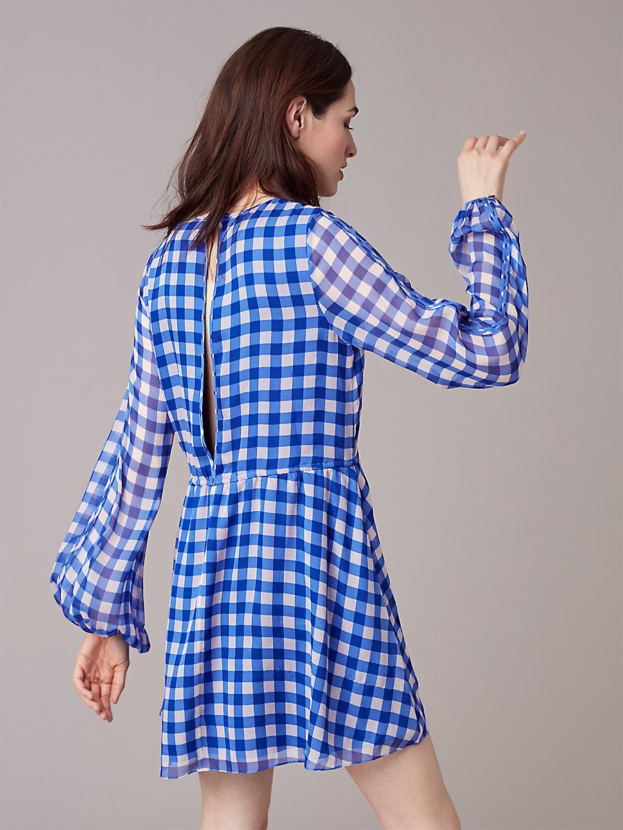 【先行予約 6月下旬お届け予定】Cinch Waist Mini Dress in Cossier Large Klein Blue by DVF