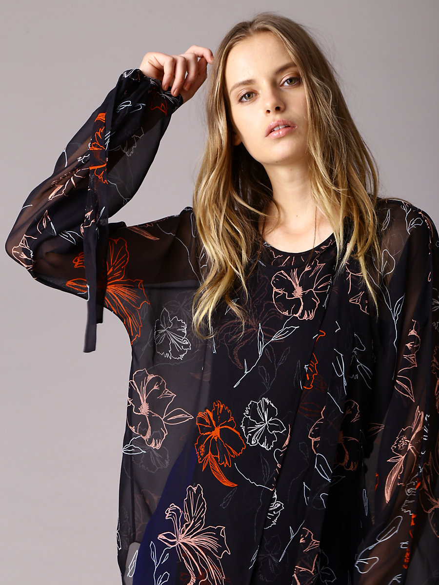 Tie Neck Slit Blouse in Fenelon Black by DVF
