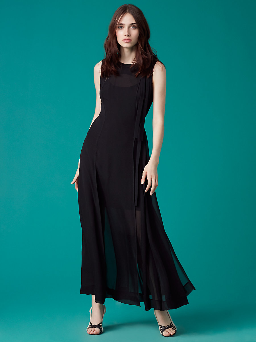 Sleeveless High Neck Tie Flare Dress in Black by DVF