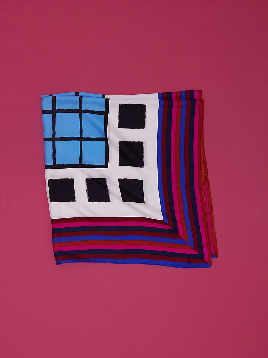 Newton Wesley Square Scarf in Newton Wesley Hydrangea by DVF