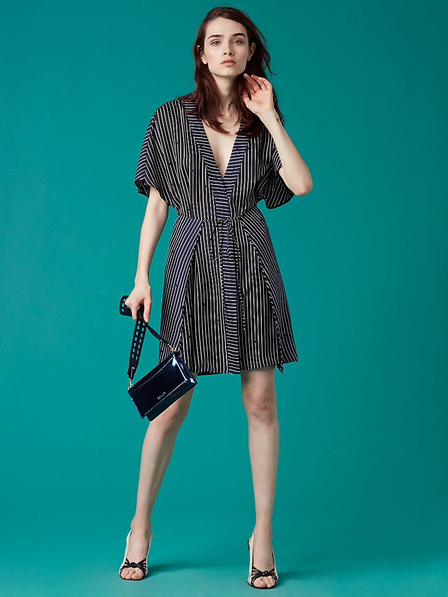 Short-Sleeve V-Neck Tie Front Dress in Larson Black/ Midnight by DVF
