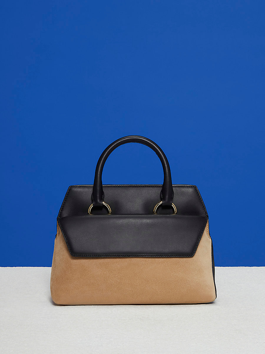 Small Front Flap Satchel in Black/ Sesame by DVF