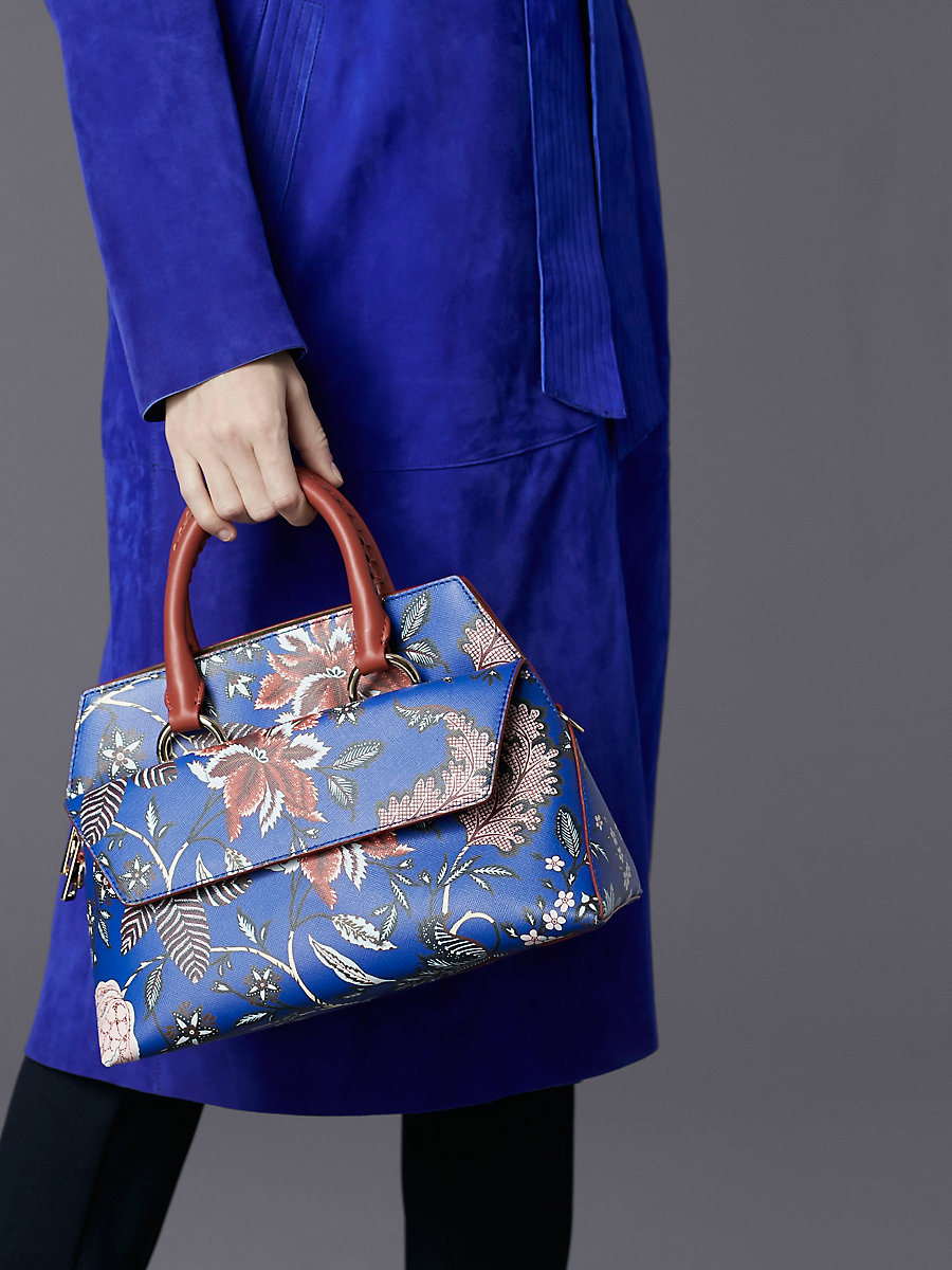 Small Front Flap Satchel in Canton Print - Electric Blue by DVF