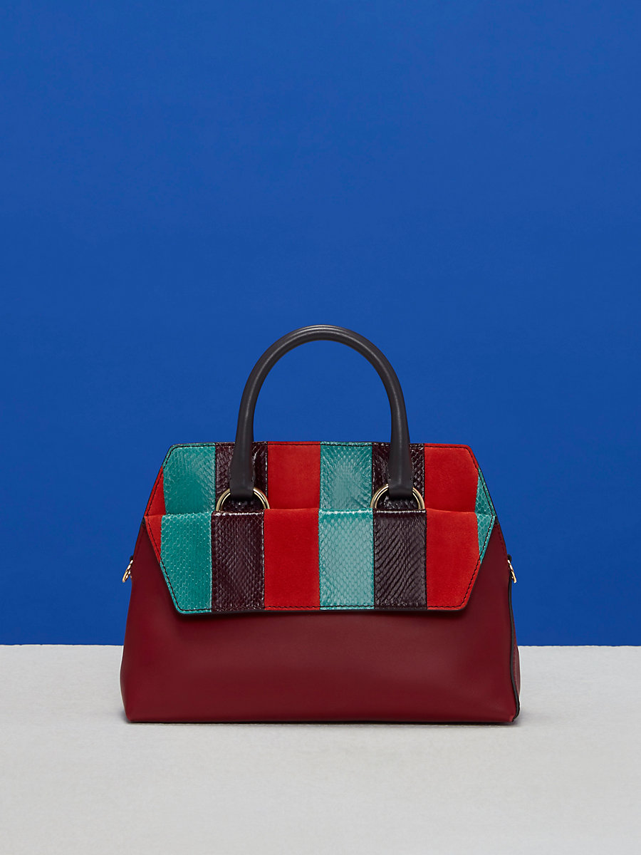 Small Front Flap Satchel in Jade/ Bright Red/ Deep Fig by DVF