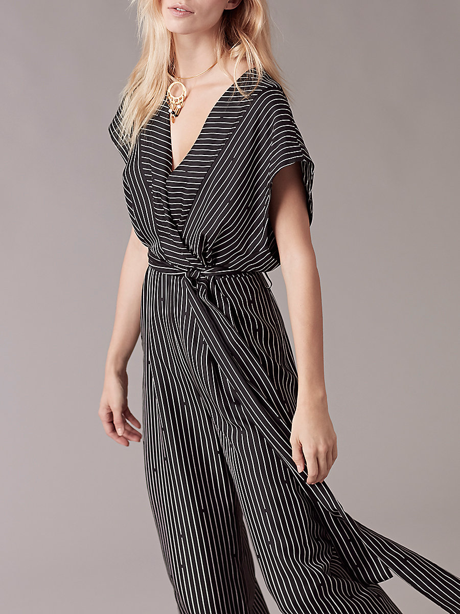 Short-Sleeve V-Neck Jumpsuit in Larson Black by DVF