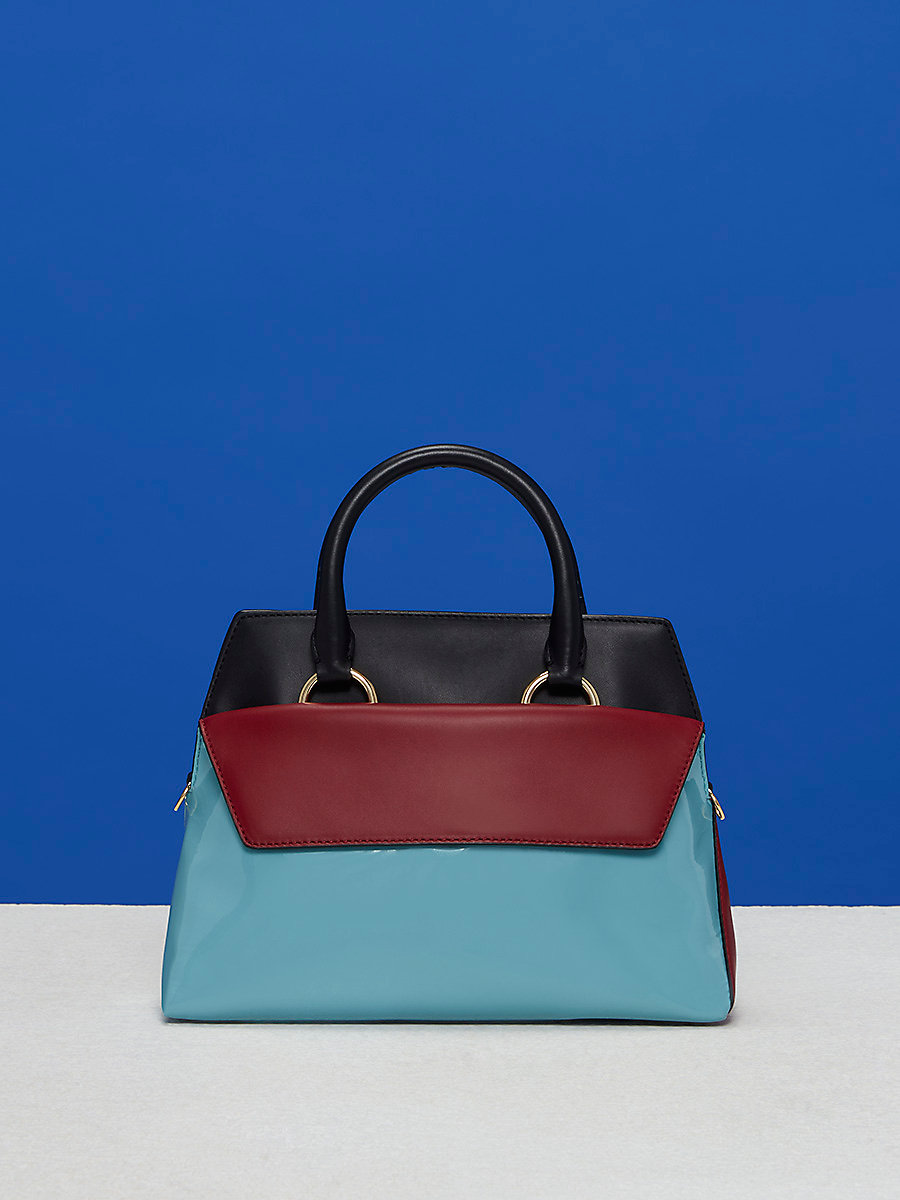 Small Front Flap Satchel in Black/ Deep Fig/ Aqua by DVF