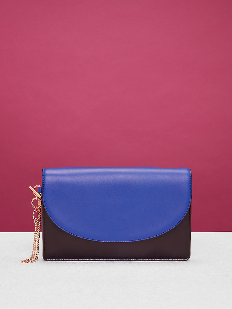 Saddle Evening Clutch in Electric Blue/ Black by DVF