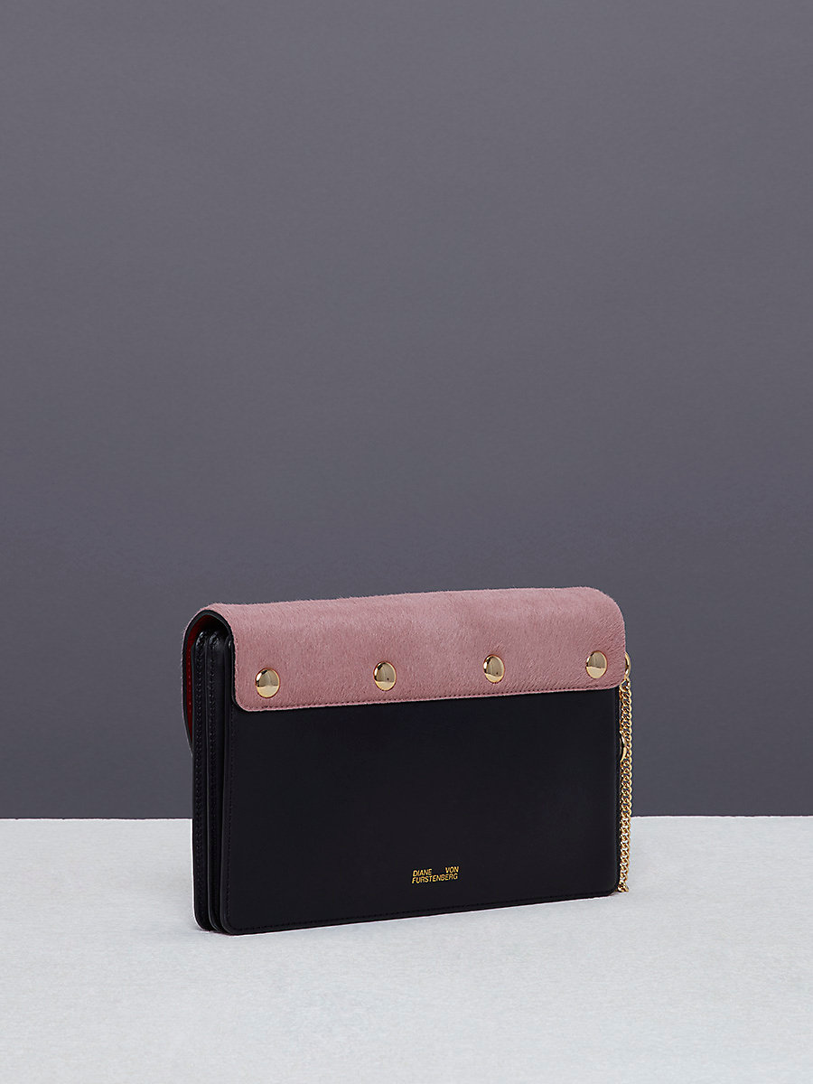 Saddle Evening Clutch in Dusty Mauve/ Black by DVF