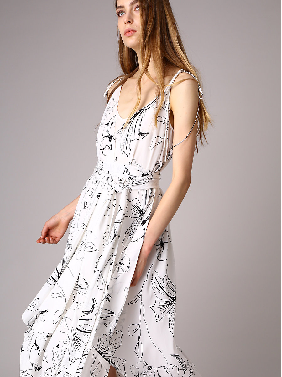 New Sarf Hem Dress in Pelier Ivory by DVF