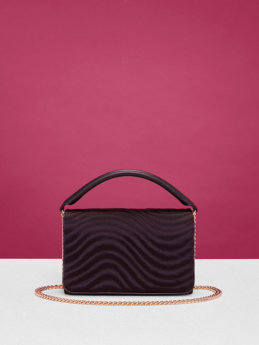 Quilted Bonne Soirée Bag in Black by DVF