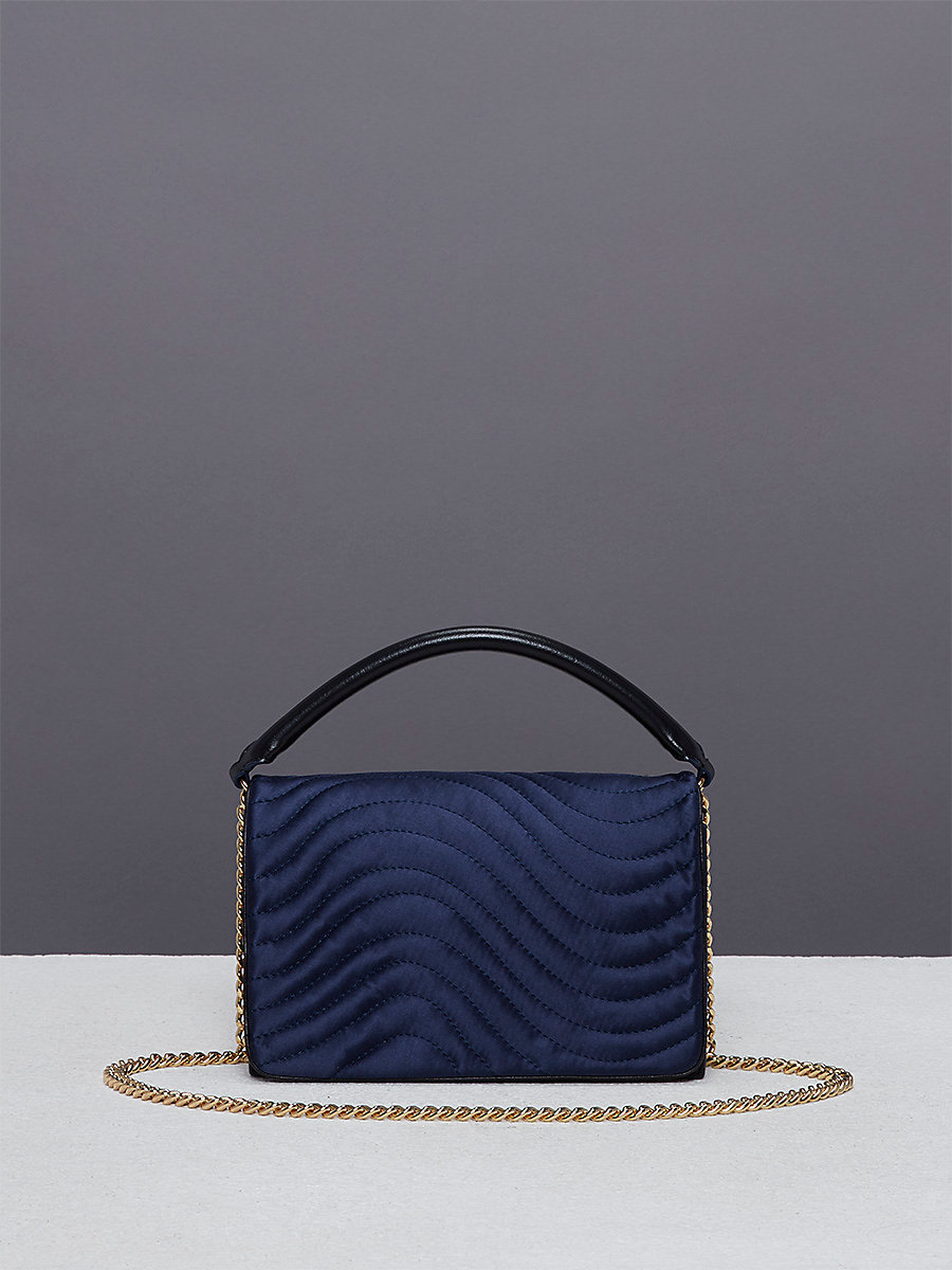 Quilted Bonne Soirée Bag in Navy by DVF
