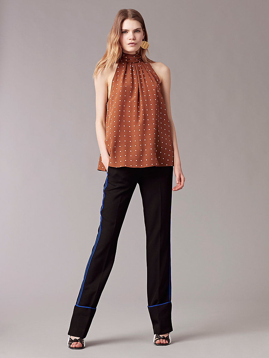 Sleeveless High Neck Blouse in Arbor Dot Kola by DVF