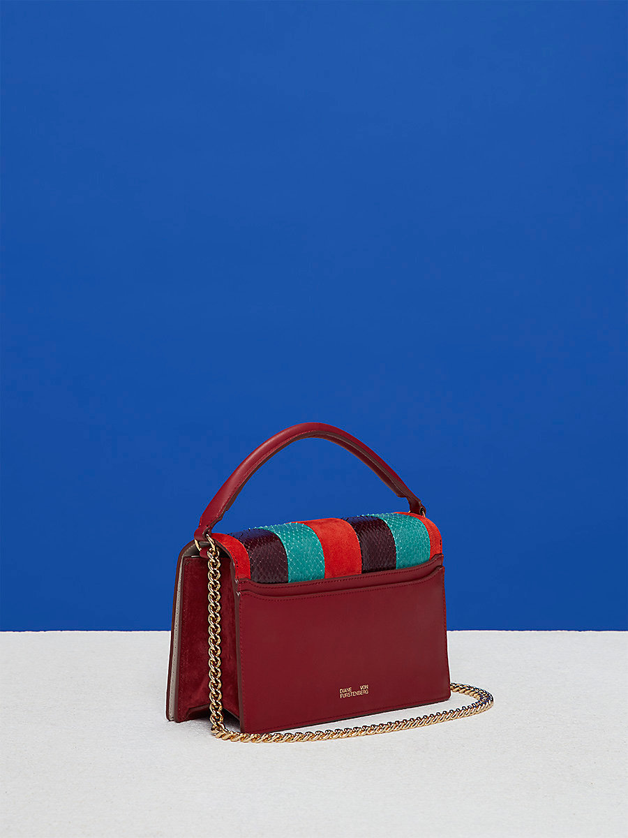 Watersnake Bonne Soirée Bag in Jade/ Bright Red/ Deep Fig by DVF