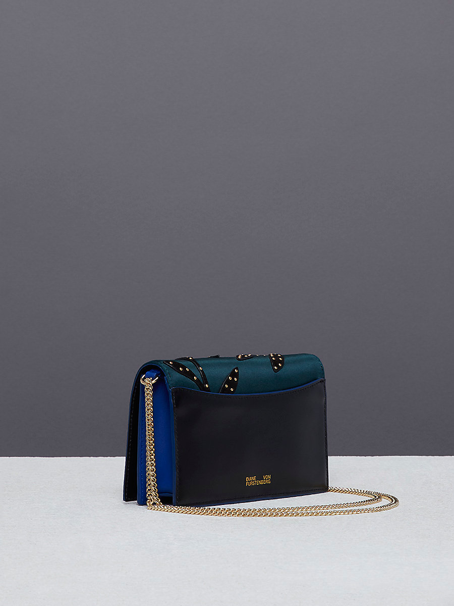 Soirée Crossbody Bag in Forest/ Electric Blue by DVF