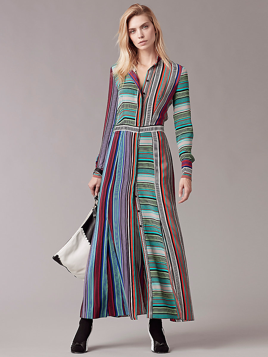 Long-Sleeve Collared Flare Shirtdress in Burman Stripe Multi by DVF