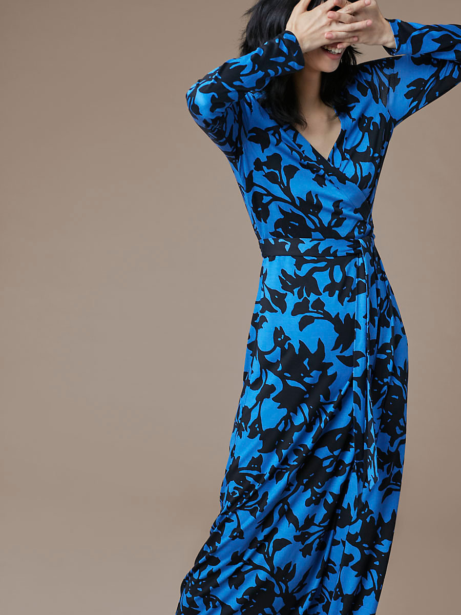 New Julian Long Banded Wrap Dress in Brulon Denim by DVF