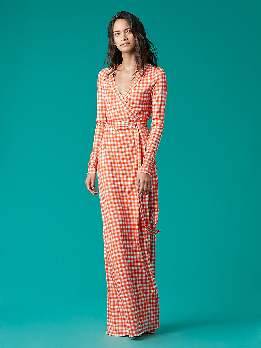 New Julian Long Banded Wrap Dress in Cossier Small Bold Red by DVF