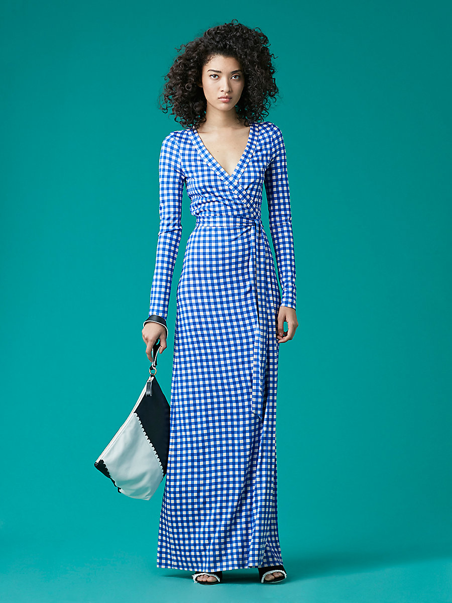 Long Banded Wrap Dress in Cossier Small Klein Blue by DVF