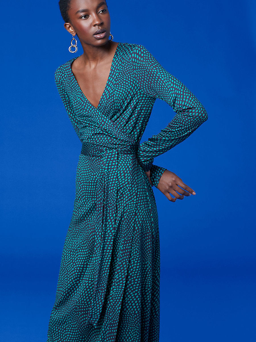 New Julian Long Banded Wrap Dress in Easton Dot Jade by DVF