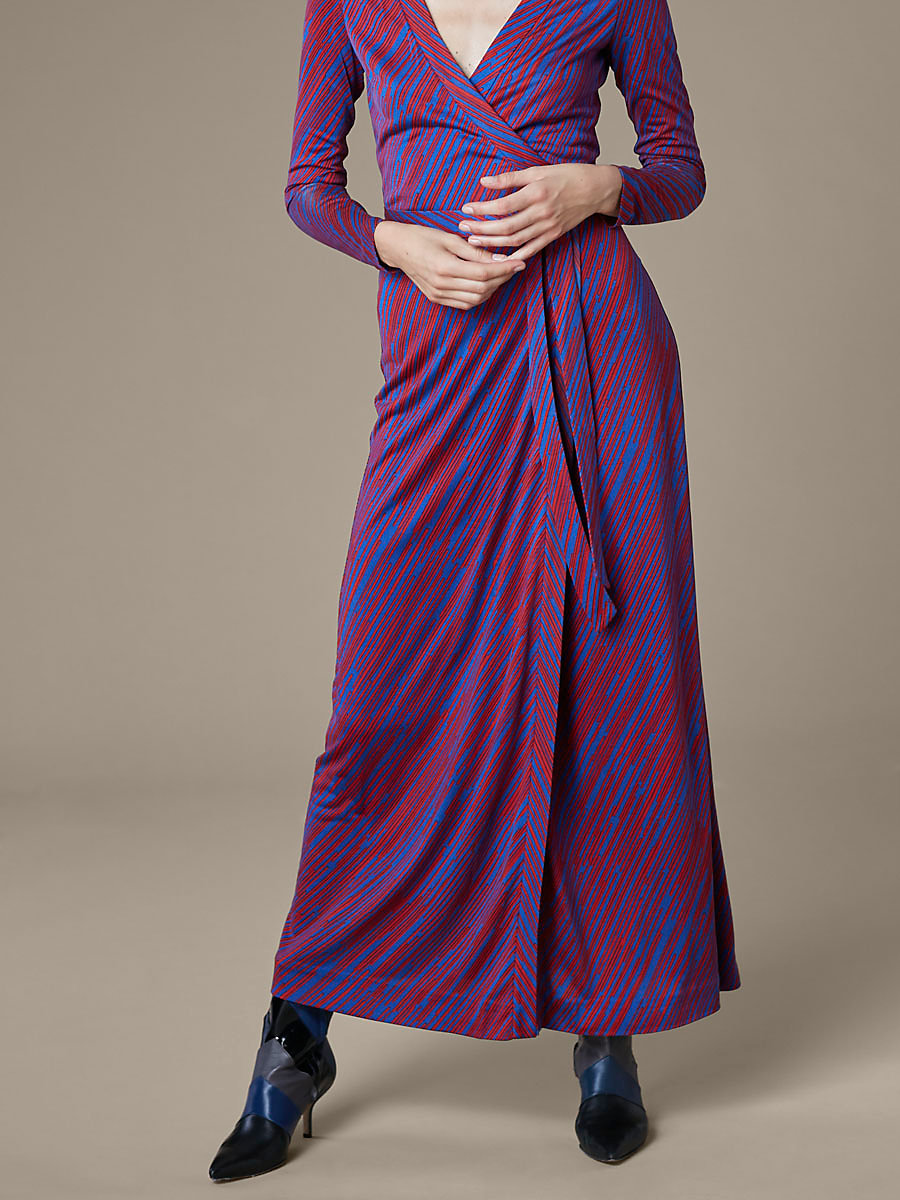 New Julian Long Banded Wrap Dress in Visconti Royal by DVF