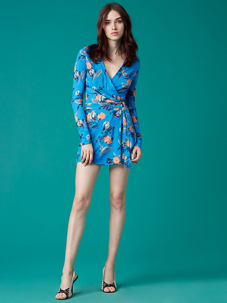 Long Sleeve Banded Romper in Silese Tile Blue by DVF