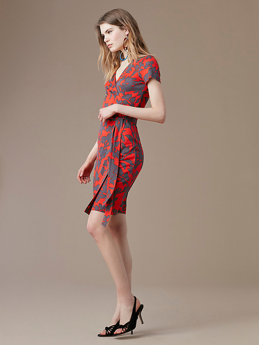 New Julian Short Sleeve Wrap Dress in Brulon Bright Red by DVF