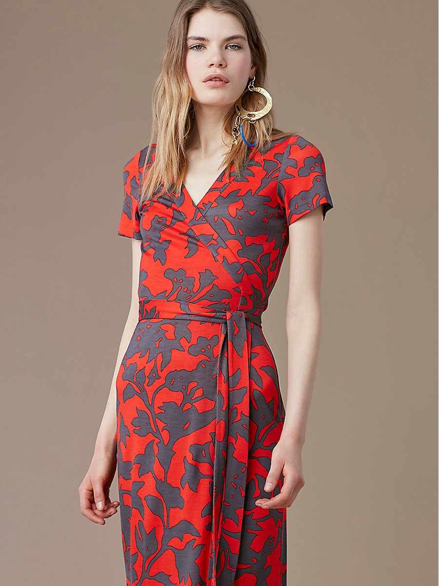 New Julian Short-Sleeve Wrap Dress in Brulon Bright Red by DVF