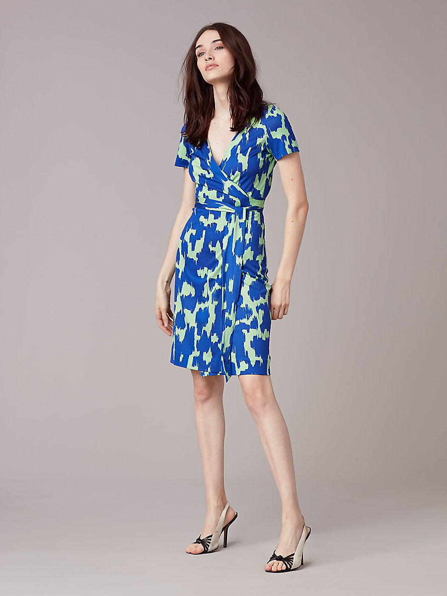 New Julian Short-Sleeve Wrap Dress in Eylan Klein Blue by DVF