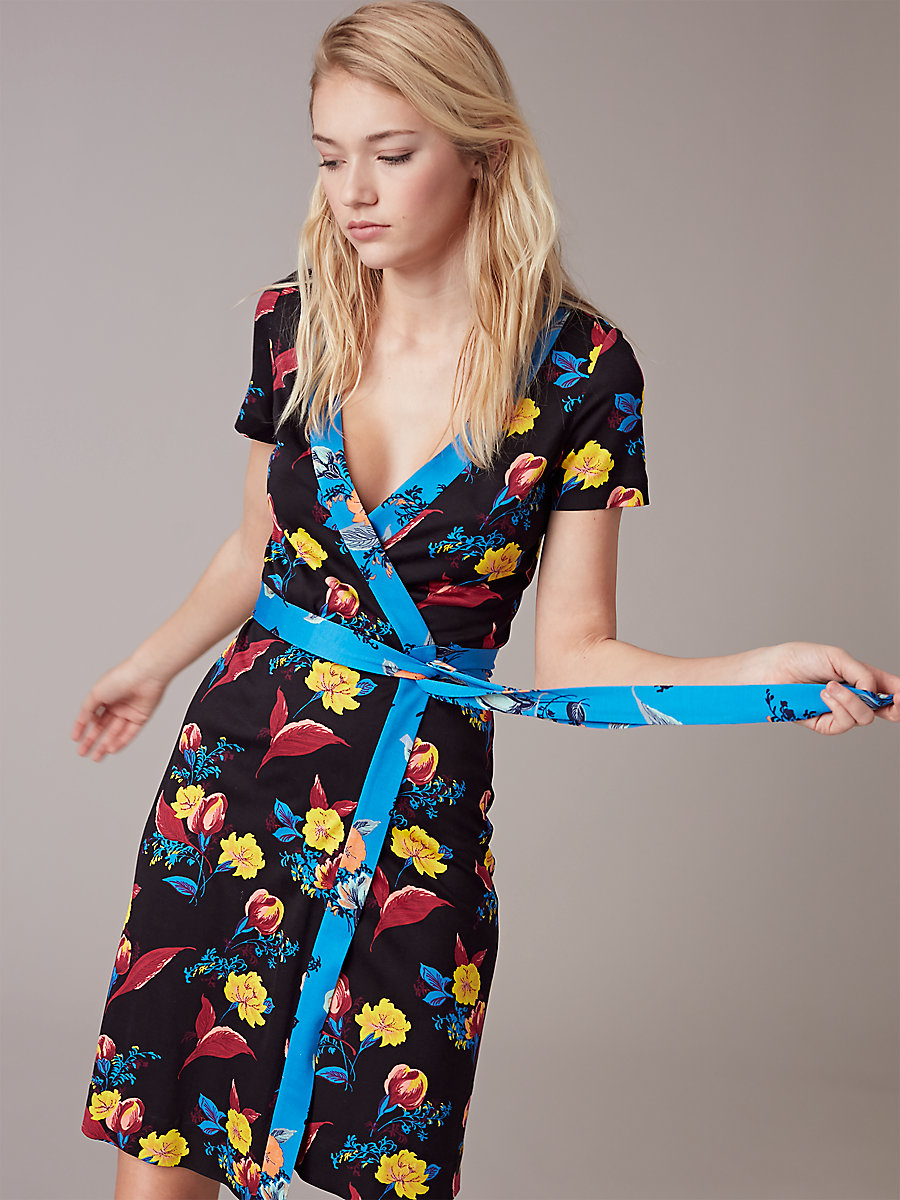 New Julian Short-Sleeve Wrap Dress in Silese Tile Blue by DVF