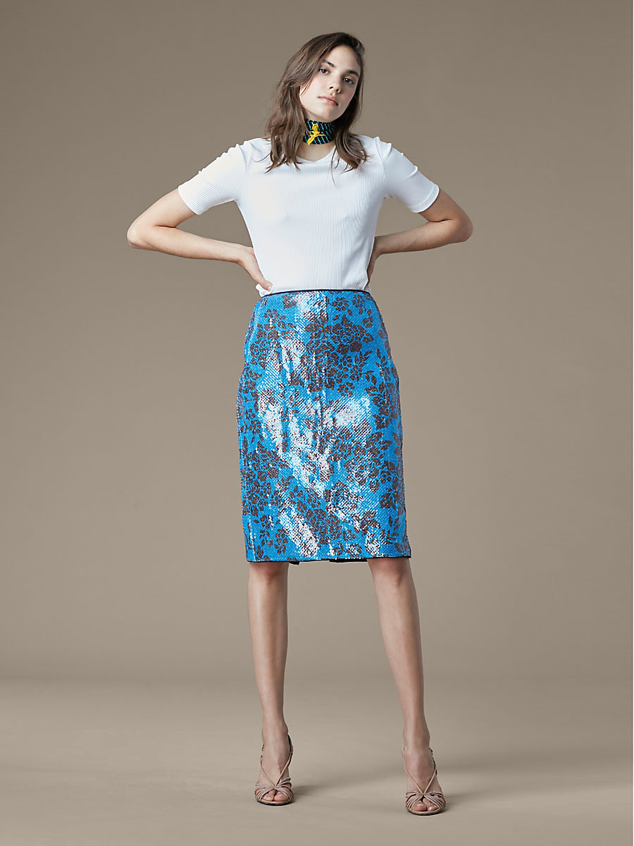 Tailored Pencil Skirt in Callow Cerulean/ Navy by DVF
