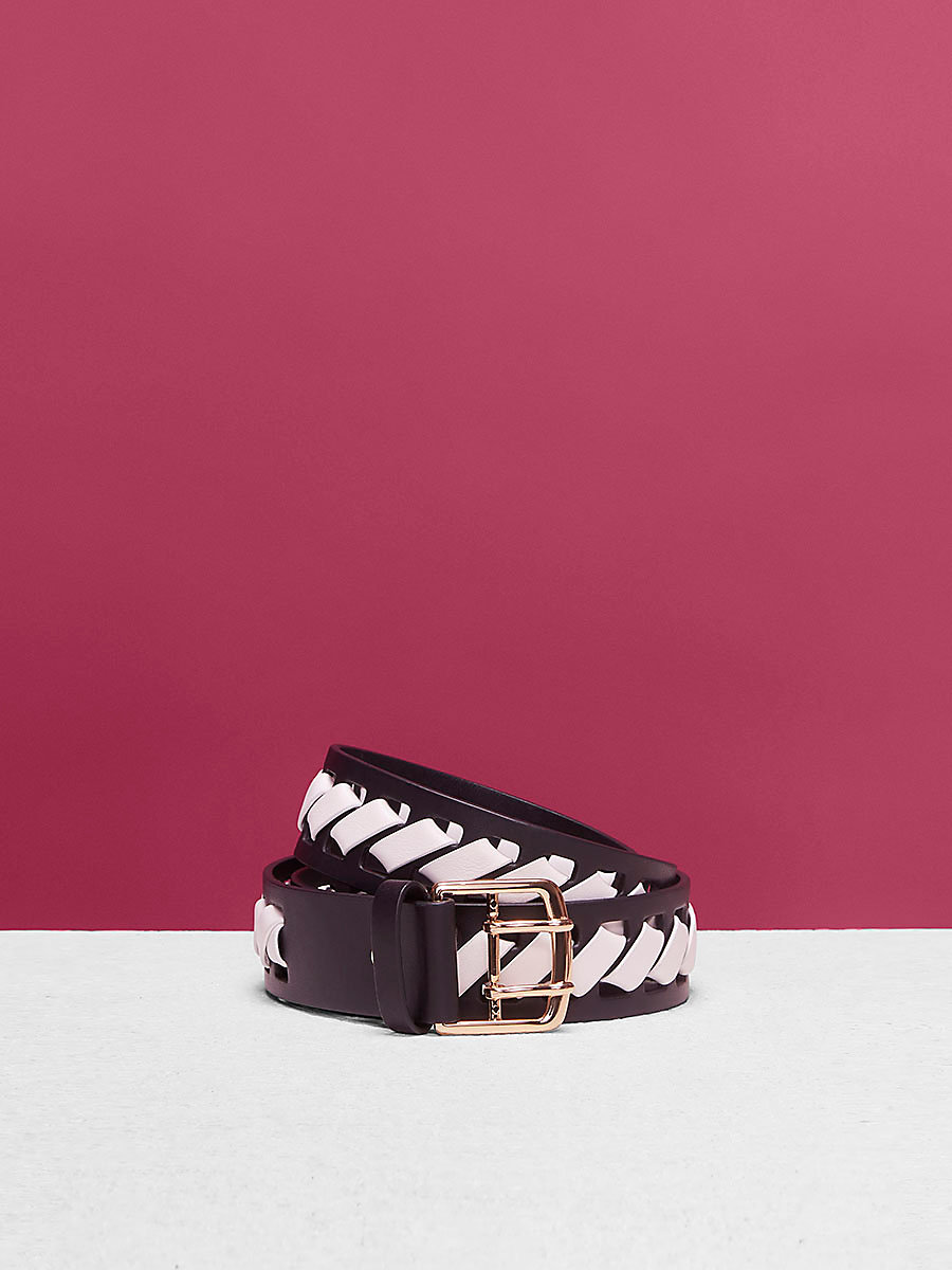 Whipstitch Belt in Black/ White by DVF
