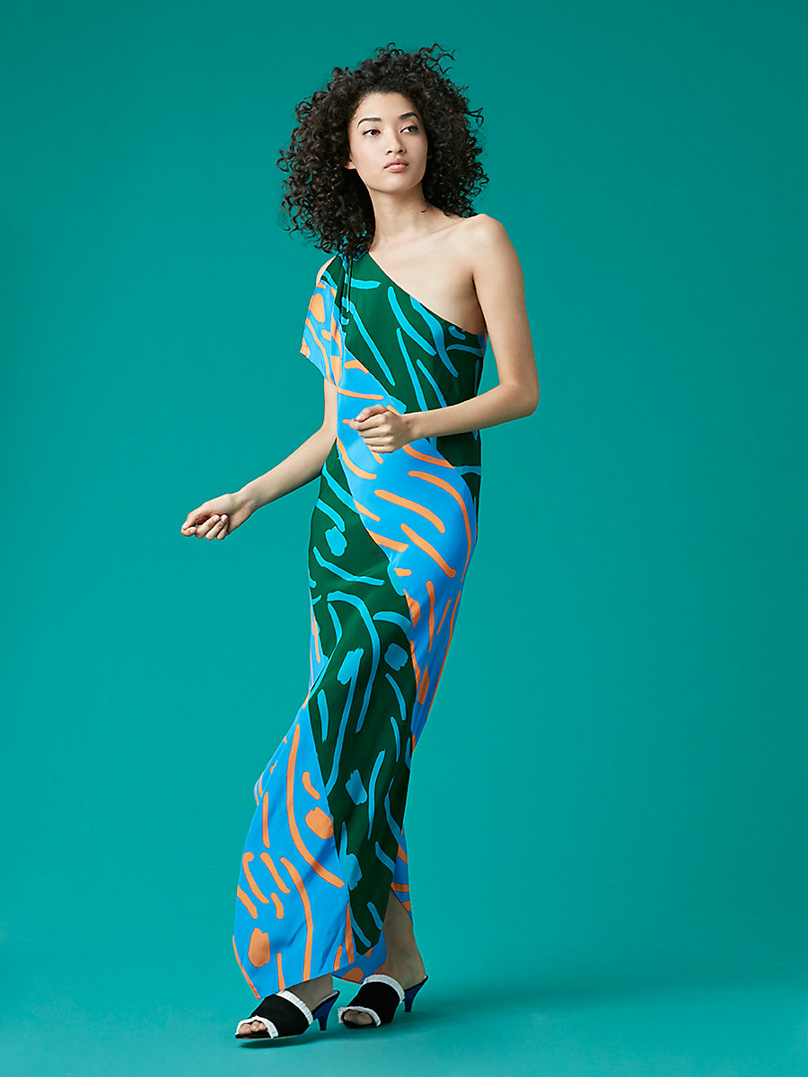 One-Shoulder Asymmetric Hem Dress in Chatham Tile Blue/ Green by DVF