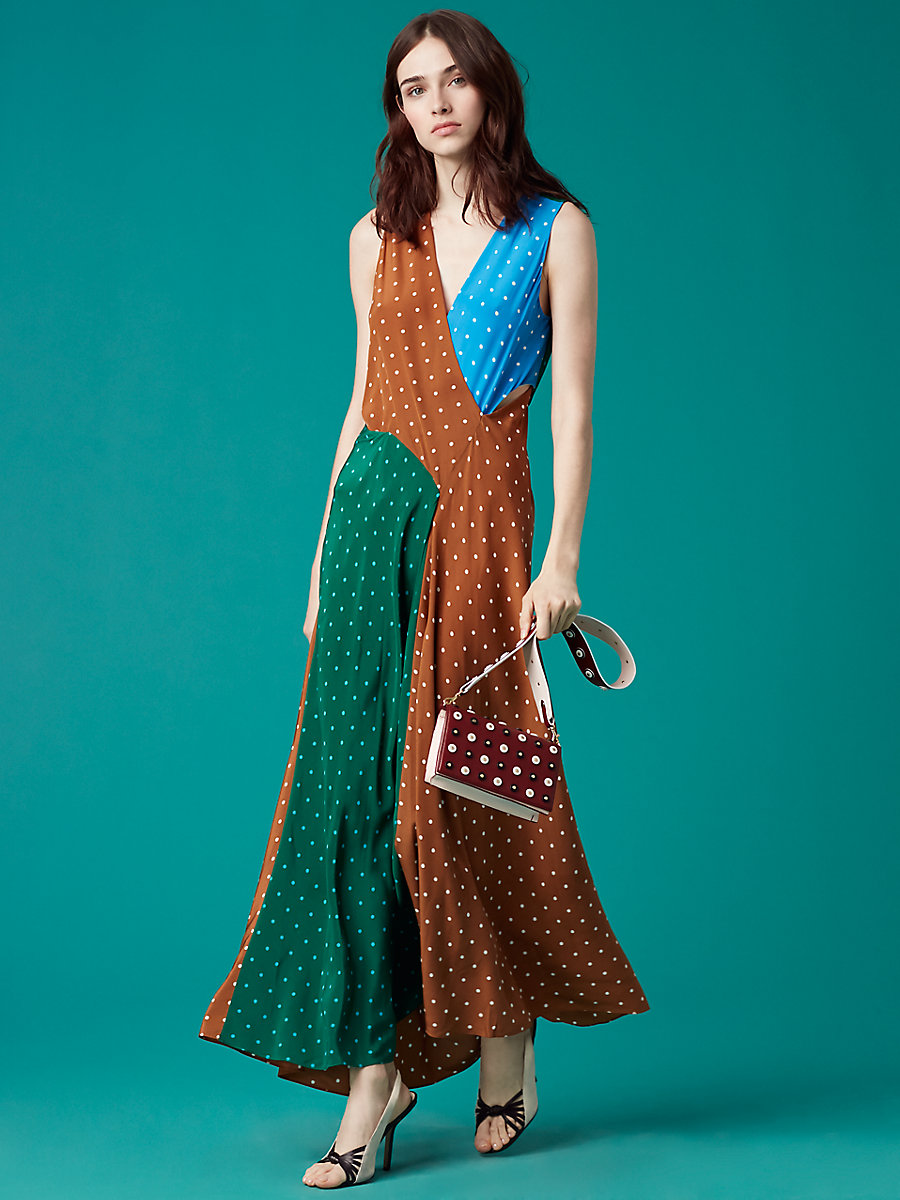 Sleeveless Draped Floor-Length Dress in Arbor Dot Kola by DVF