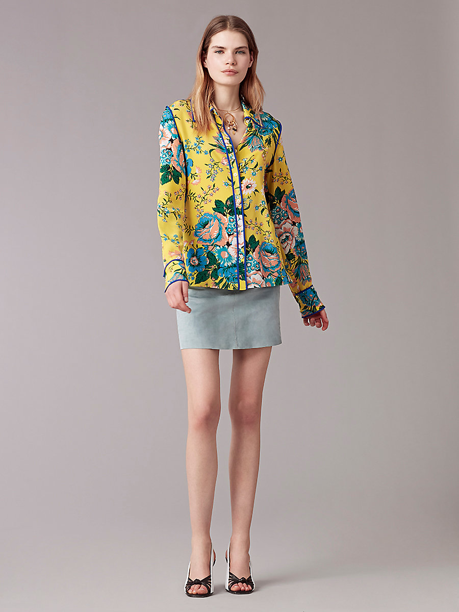Long-Sleeve Collared Shirt in Bournier Acid Yellow/klein Blu by DVF