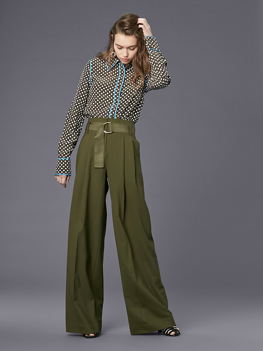 Long-Sleeve Collared Shirt in Leighton Dot Olive/ Hydrangea by DVF